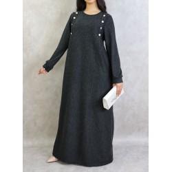 Long heather black dress