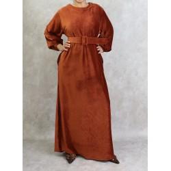 Velvet-effect dress in rust...