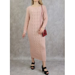 Long knitted dress in old...