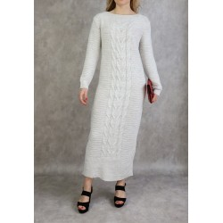 Long knitted dress in...