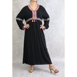 Long and loose black dress...