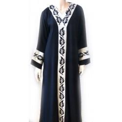 Black abaya white patterns...
