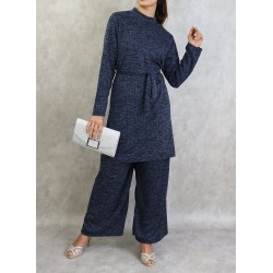Navy blue tunic and pants set