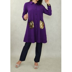 Mid-length tunic shirt with...