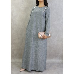 Long marl dress in light gray