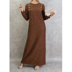 Long marl dress in brown color