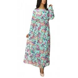 Long floral print dress -...