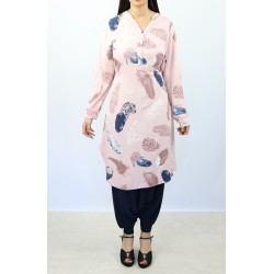 Buttoned tunic with belt -...