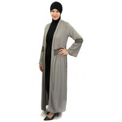 Long pleated cardigan with...