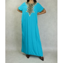 Long cotton dress with gold...