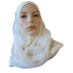 Off-white 1-piece hijab...