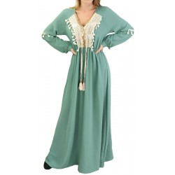 Long embroidered dress with...