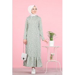 Long hooded dress with...