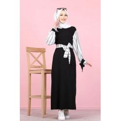 Black long dress with grey...
