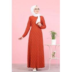 Long polka dot dress for...