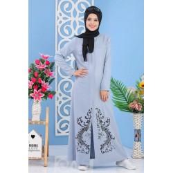 Long buttoned floral dress...