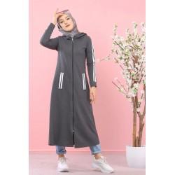 Long hooded cardigan -...