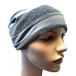 Gray beanie with two...