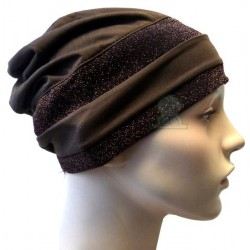 Brown hat with two dark...