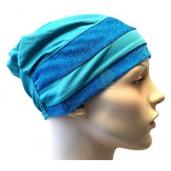 Blue green hat with two...