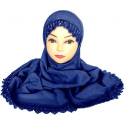 Two-piece hijab with lace...