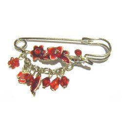 """Golden """"red flowers"""" pin..."""