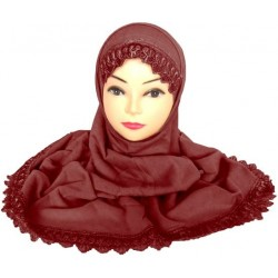 Two-piece hijab with brown...