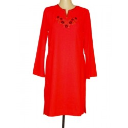 Noura red linen tunic (Size L)