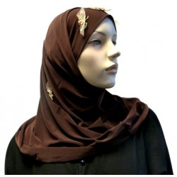 Brown 2-piece hijab with...
