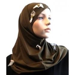 2-piece khaki hijab...
