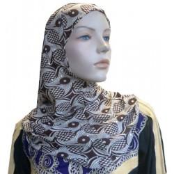 Glittery beige hijab with...