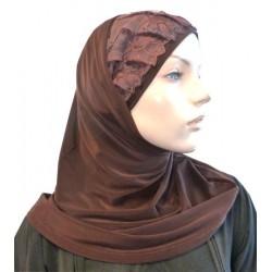 2-piece dark brown hijab...