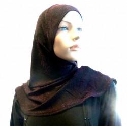 Red silver glitter black hijab