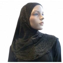 Black gold glitter hijab