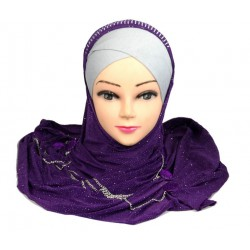 Glitter purple hijab with...