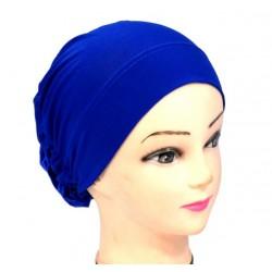 Plain blue hat with large...