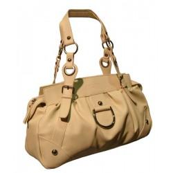 Beige colored handbag