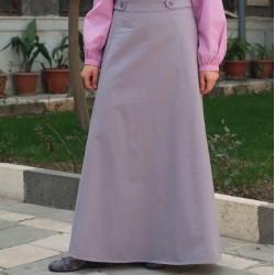 Buttoned Waist A-Line Skirt...
