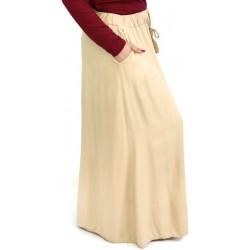Jupe longue beige avec poches