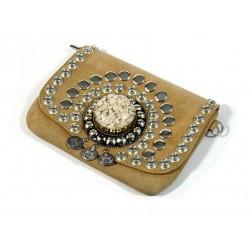 Beige suede leather handbag...