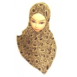 Hijab with lined lace patterns