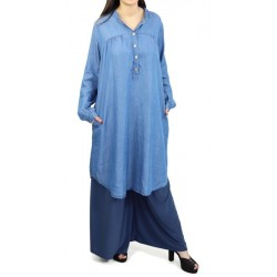 Buttoned denim tunic with...