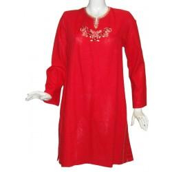 Noura red linen tunic