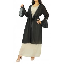 Mid-length kimono with...
