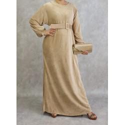 Velvet effect beige dress