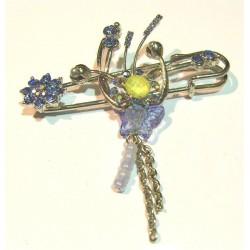Sky blue hijab brooch