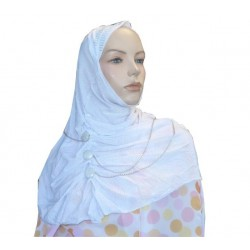 Glittery white hijab with...