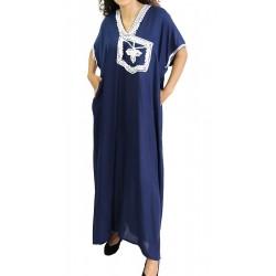 Short-sleeved dress in Navy...