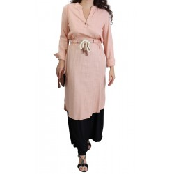 Linen tunic with belt -...