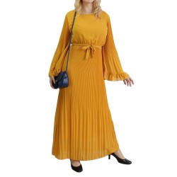 Long pleated dress with...